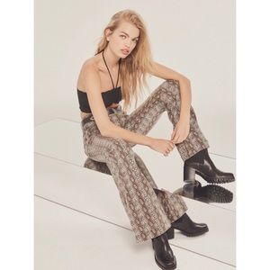 mid rise stretchy flare jeans- snakeskin 70s